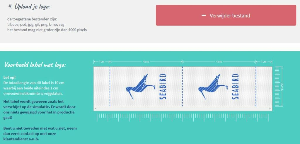 Label met logo uploaden - Nominette