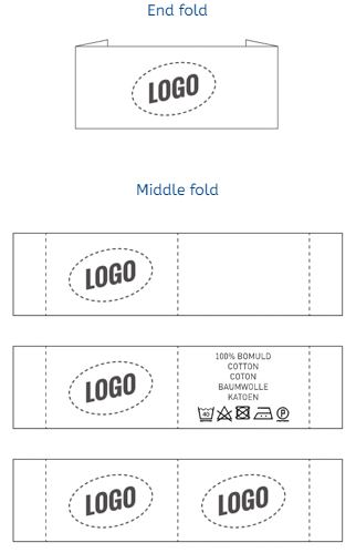Horizontal label with logo with end fold or middle fold